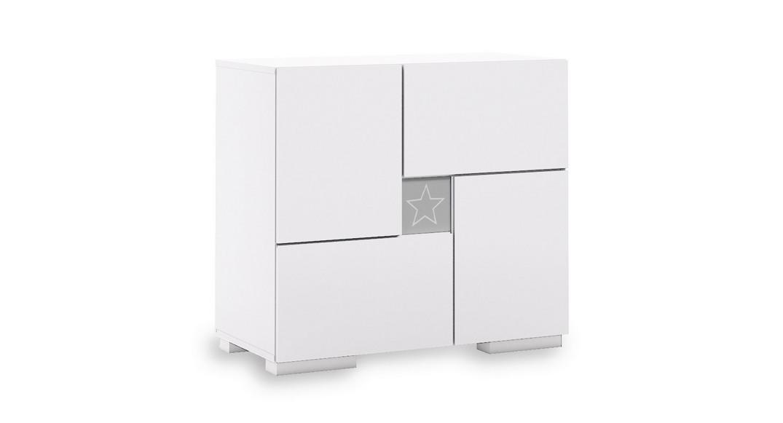 cómoda bebé cambiador mueble cajones estantes clip D206-G2335 de frente montada