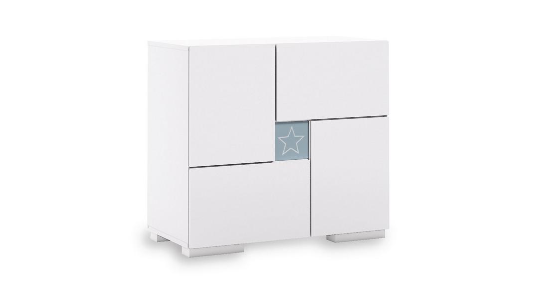 cómoda bebé cambiador mueble cajones estantes clip D206-G2351 de frente montada