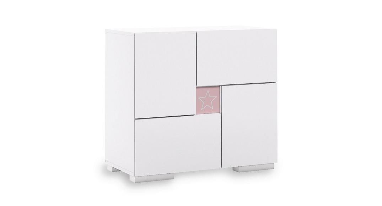 cómoda bebé cambiador mueble cajones estantes clip D206-G2352 de frente montada