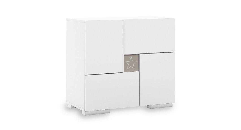 cómoda bebé cambiador mueble cajones estantes clip D206-G2353 de frente montada