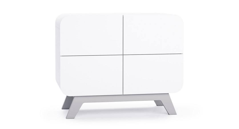 cómoda bebé cambiador mueble madera diseño kurve D217PL-M7778 de frente montada