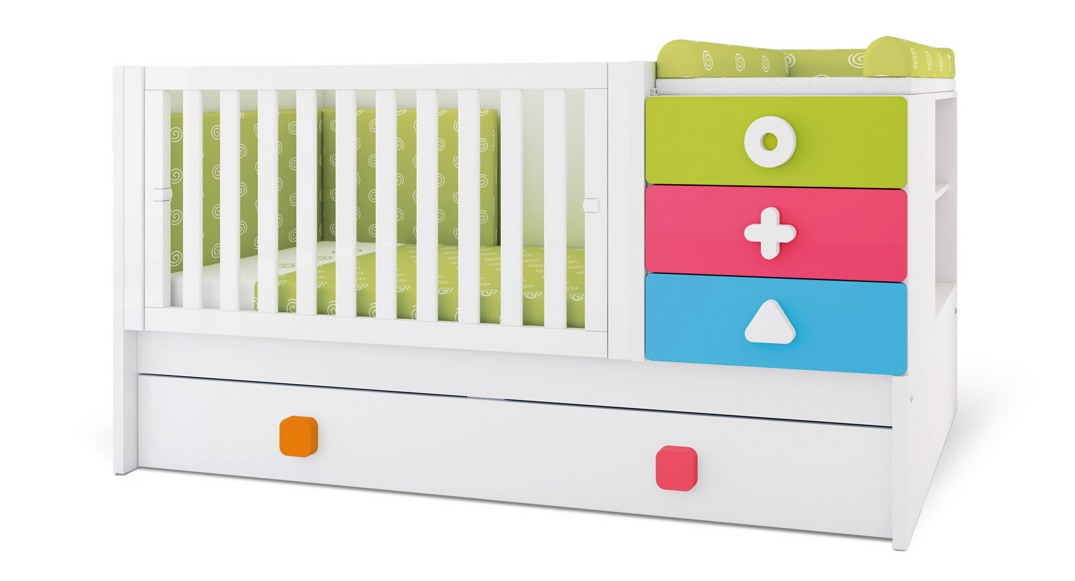 cuna convertible zero maths colores K550N-2350 montada etapa baby