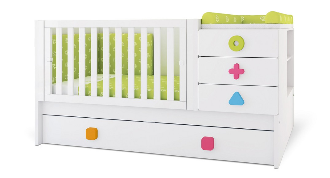 cuna convertible zero maths colores K550N-2351 montada etapa baby