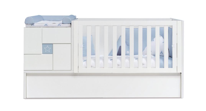 cuna convertible con cama nido neo clip K506N-G2351 montada etapa baby