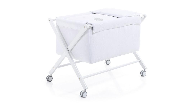 mini cuna bebé madera infantil 670-20223 montada con ruedas blanca