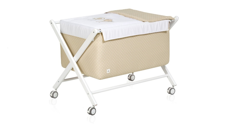 mini cuna bebé madera infantil 670-20223 montada con ruedas