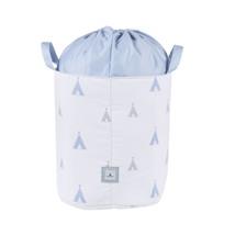 baúl juguetero tela color celeste con detalles infantiles 111 Alondra