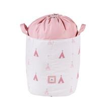 baúl juguetero tela color rosa con detalles infantiles 112 Alondra