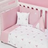 Textil bebé y ropa de cuna Alondra rosa con detalles infantiles para niñas