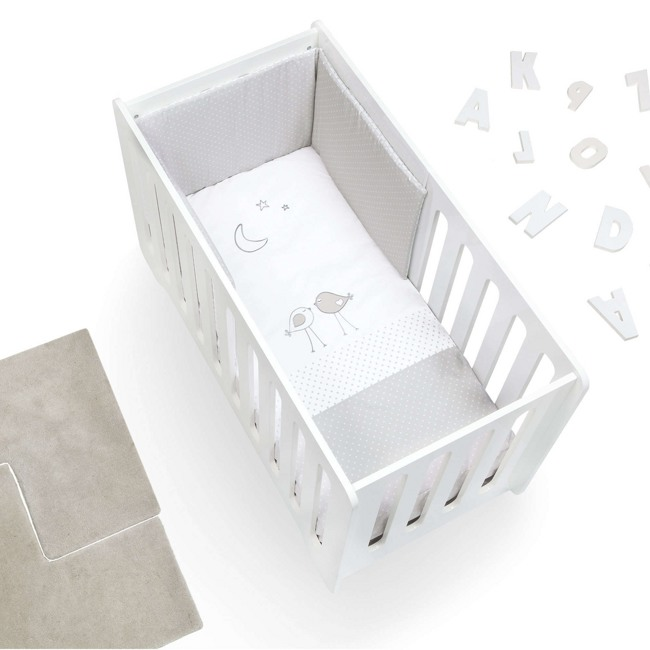 Textil bebé y ropa de cuna Alondra gris y blanco