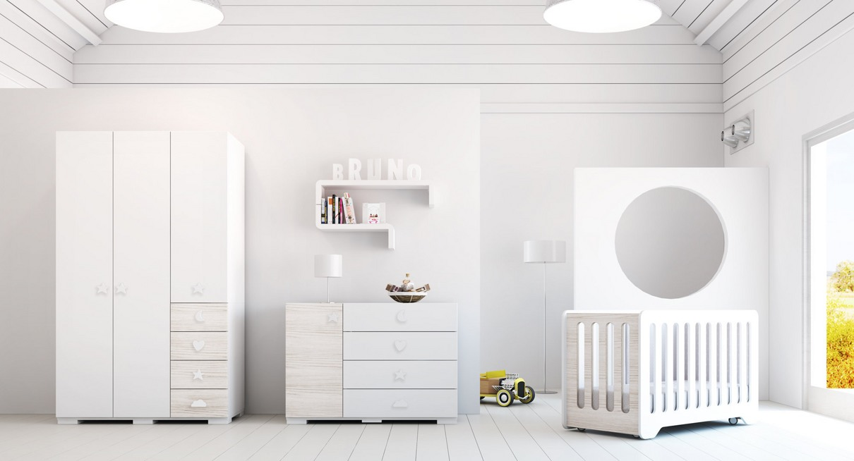 Habitaci n de beb barata de madera blanca en mate de alondra - Pomos armarios infantiles ...