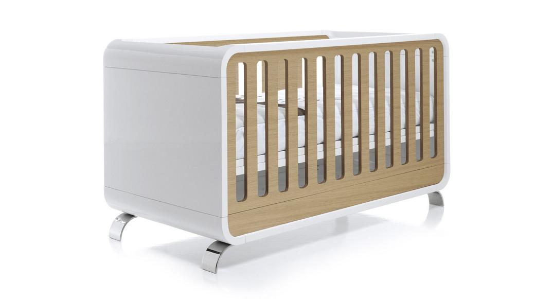 Cuna bebé de diseño en madera y blanco mate Kurve 70x140cm