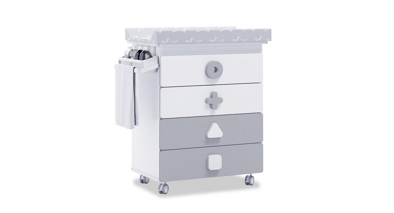 mueble bañera cambiador comoda colores maths B750-2314 montada con ruedas
