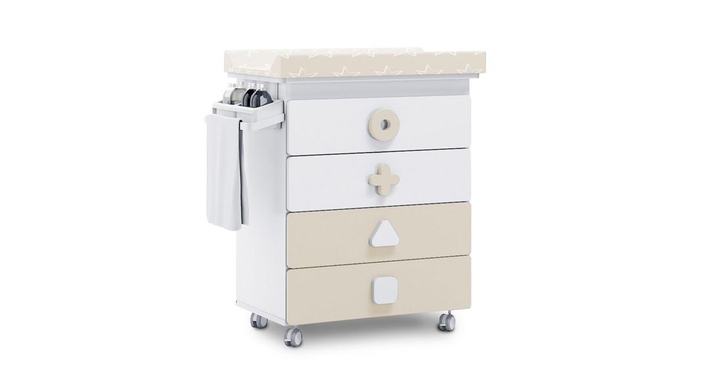 mueble bañera cambiador comoda colores maths B750-2315 montada con ruedas