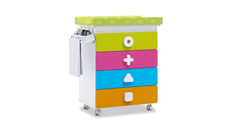 mueble bañera cambiador comoda colores maths B750-2350 montada con ruedas