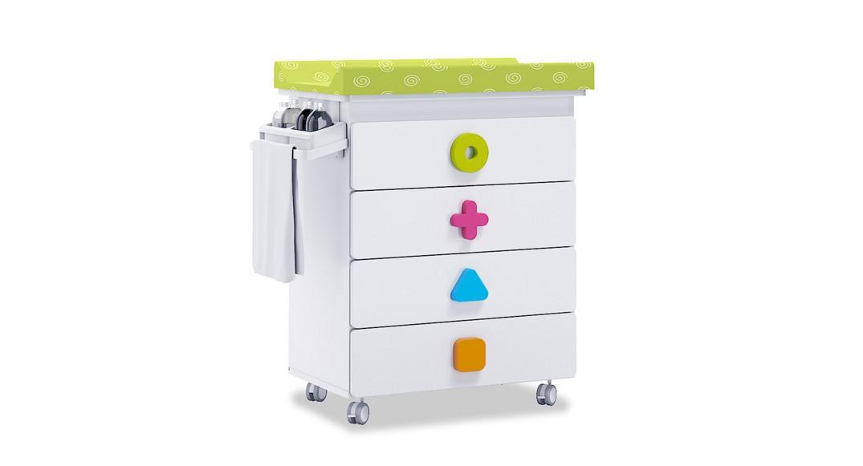 mueble bañera cambiador comoda colores maths B750-2351 montada con ruedas