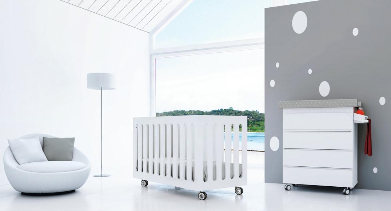 Cuna y bañera cambiador bebé blanco mate de Alondra