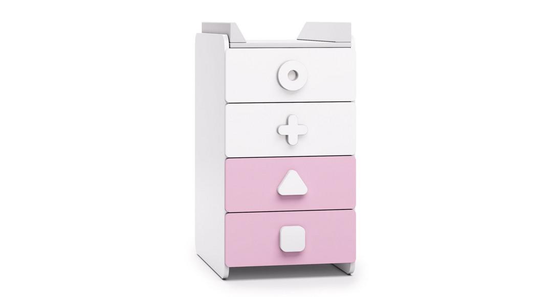 comoda infantil blanco y rosa