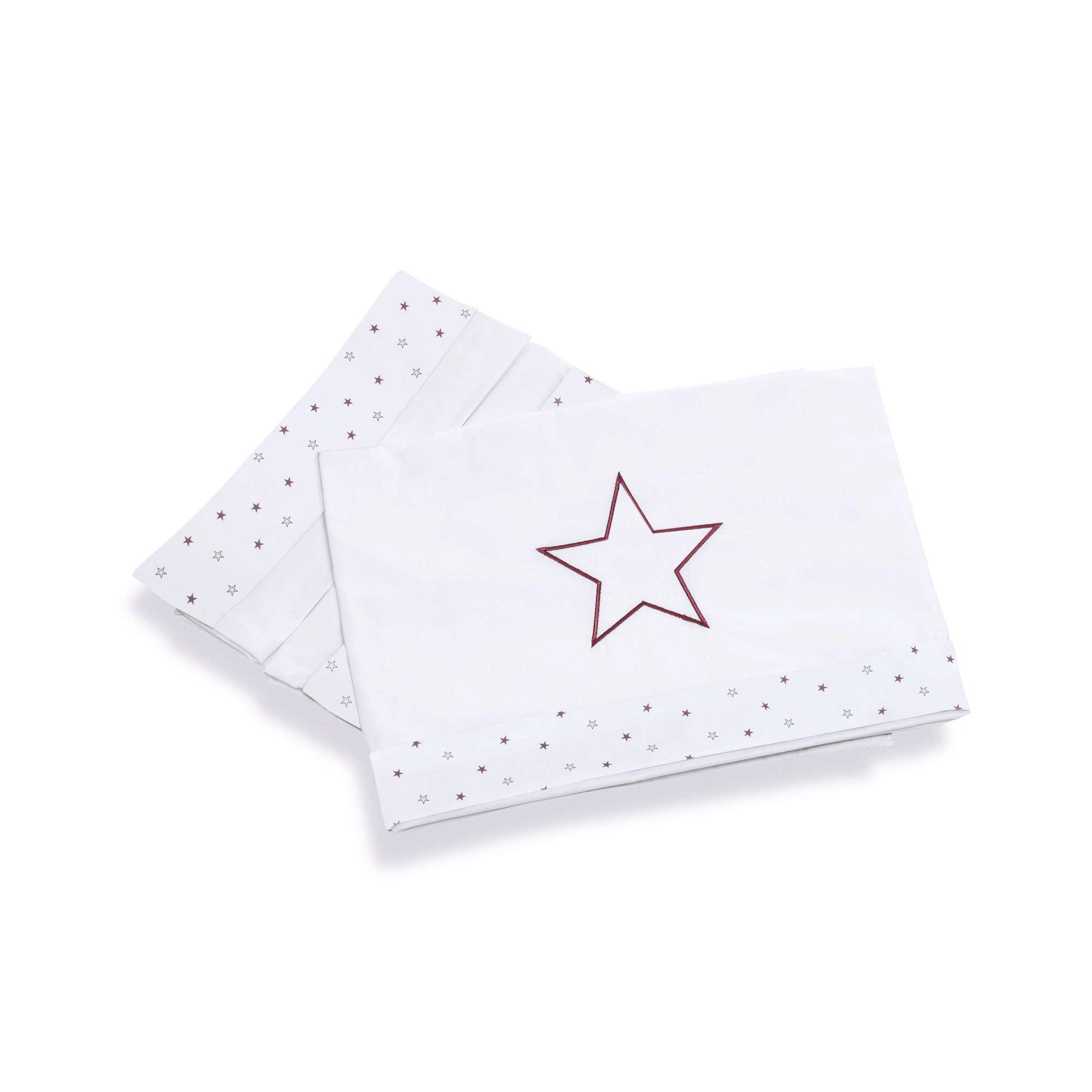 Sábanas infantiles para cuna de bebé en rosado y blanco con estampado de estrellas