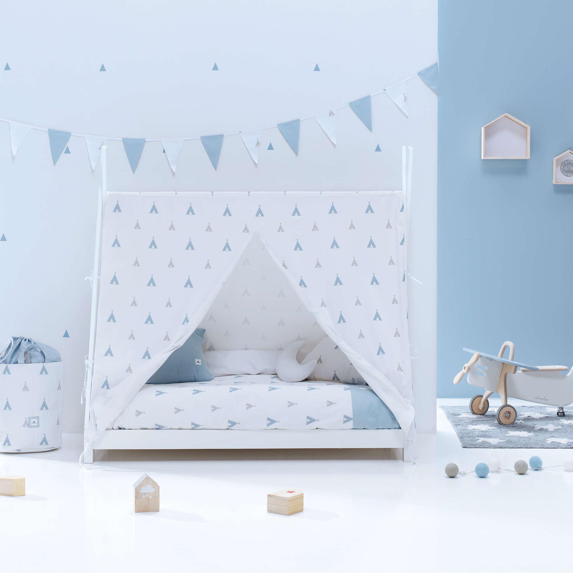 Cama Montessori Indy en azul para niño Alondra