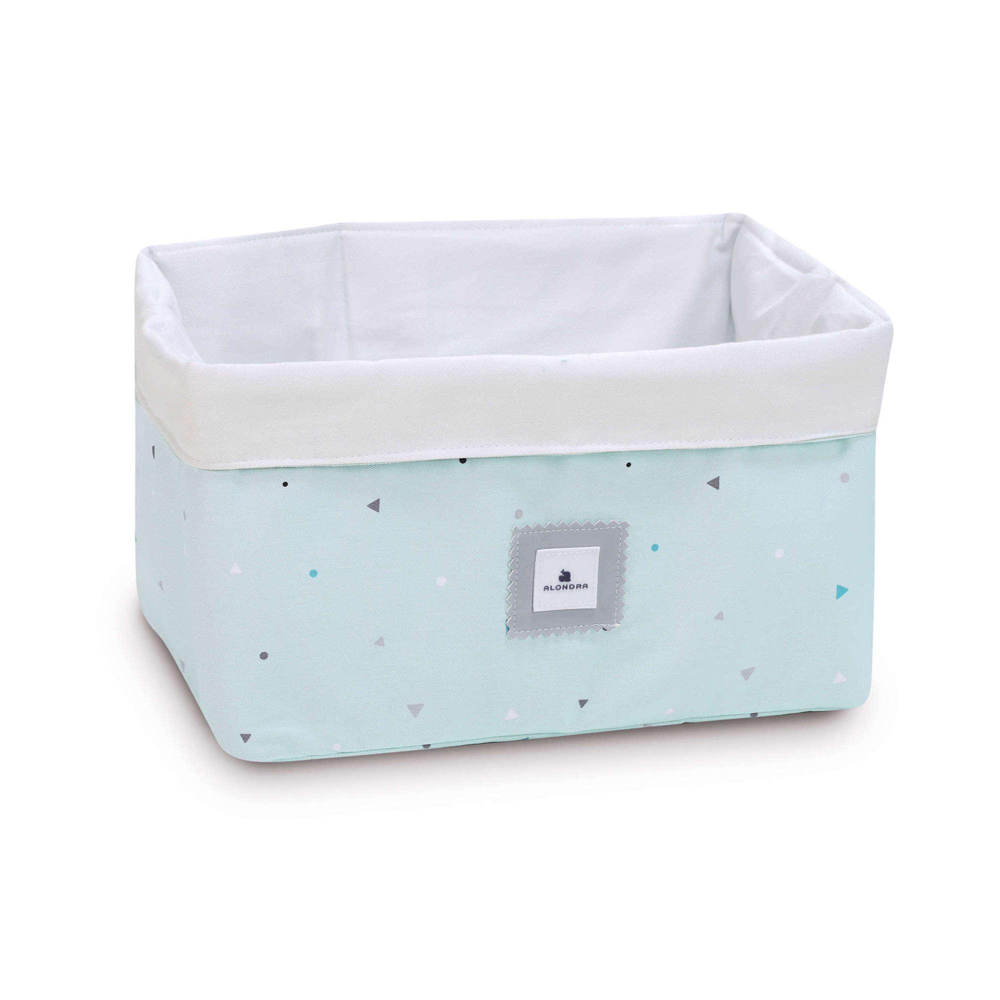 Cesta almacenaje de colonias para bebé en verde menta
