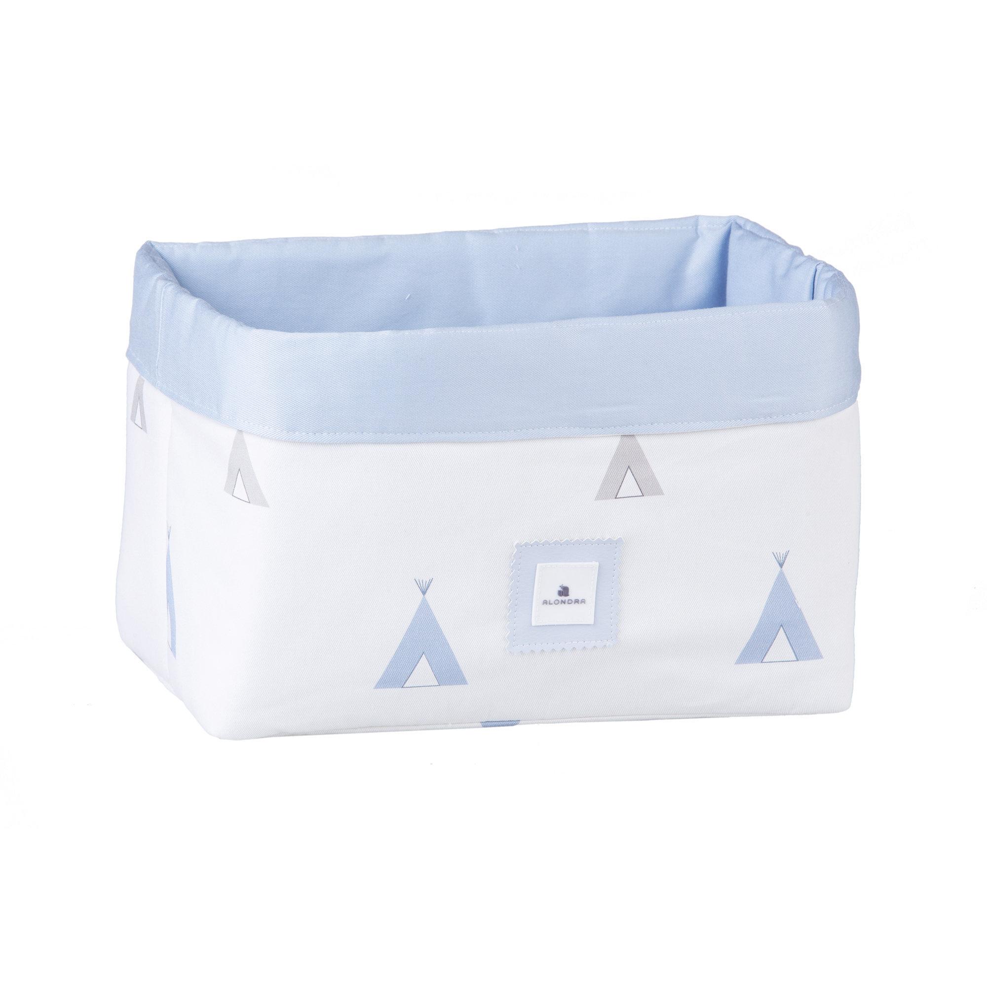 Cesta almacenaje de colonias para bebé azul celeste y blanco