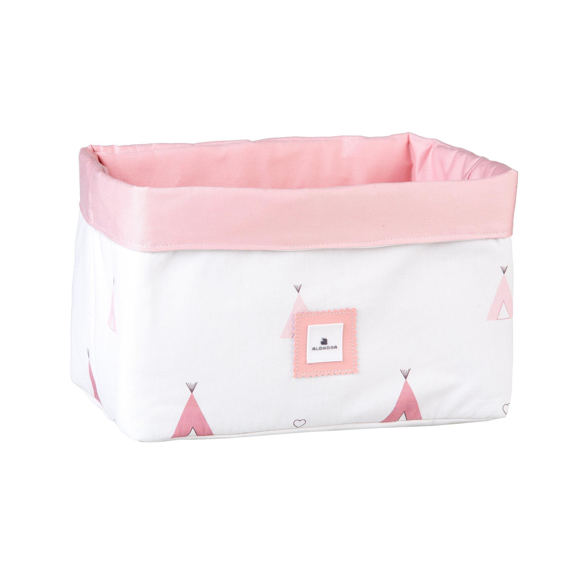 Cesta almacenaje de colonias para bebé rosa y blanco