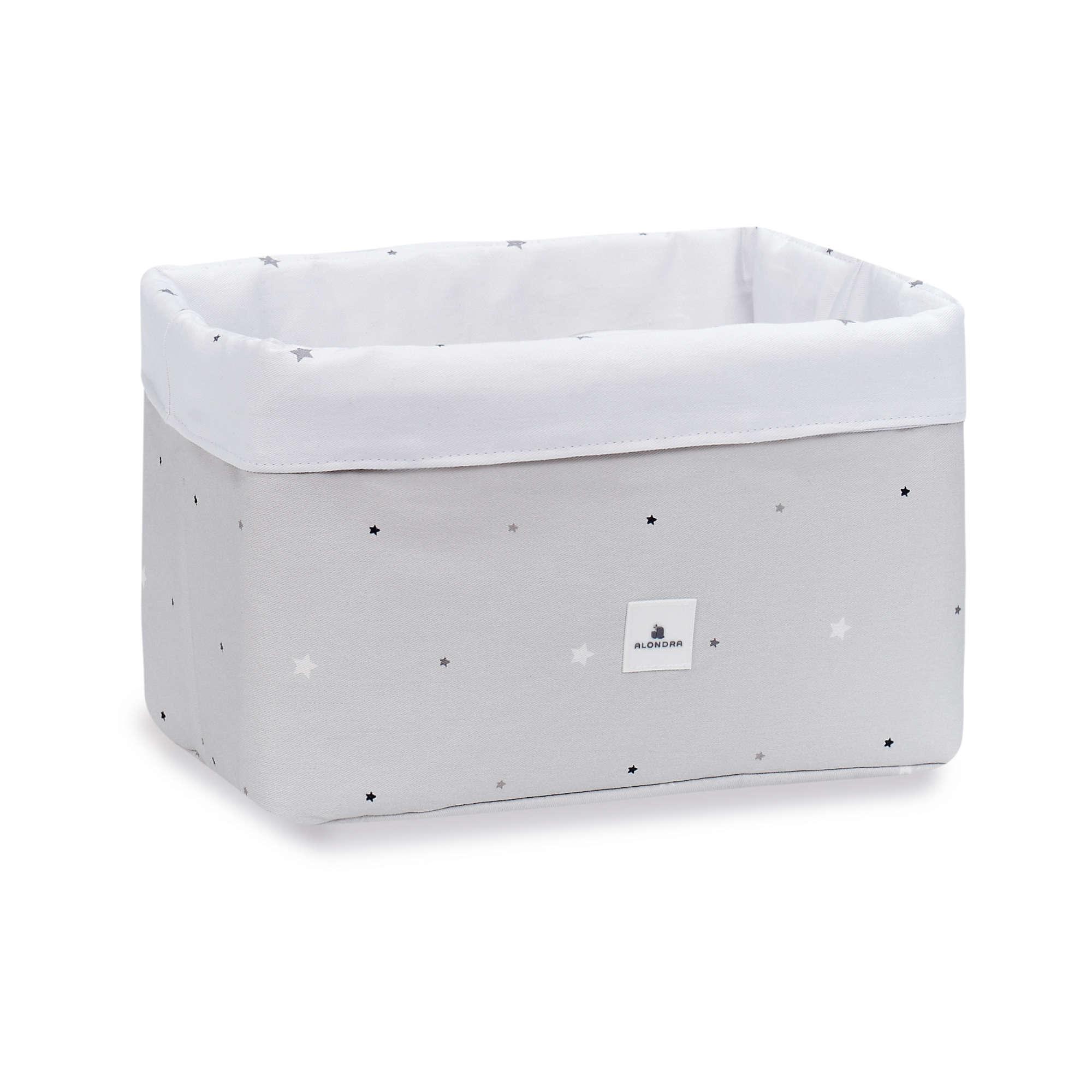 Cesta almacenaje de colonias para bebé en gris y blanco