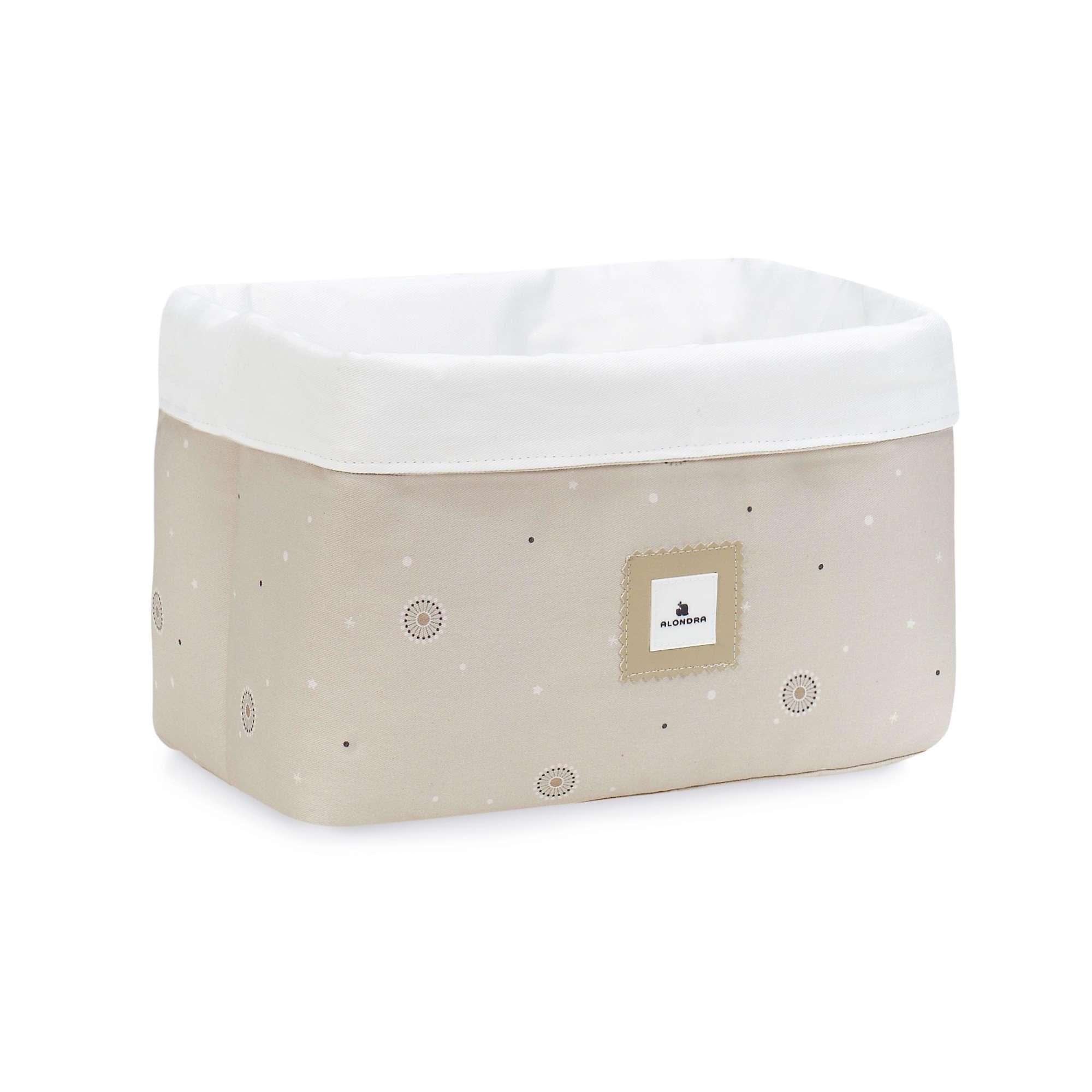 Cesta almacenaje de colonias para bebé en color beige