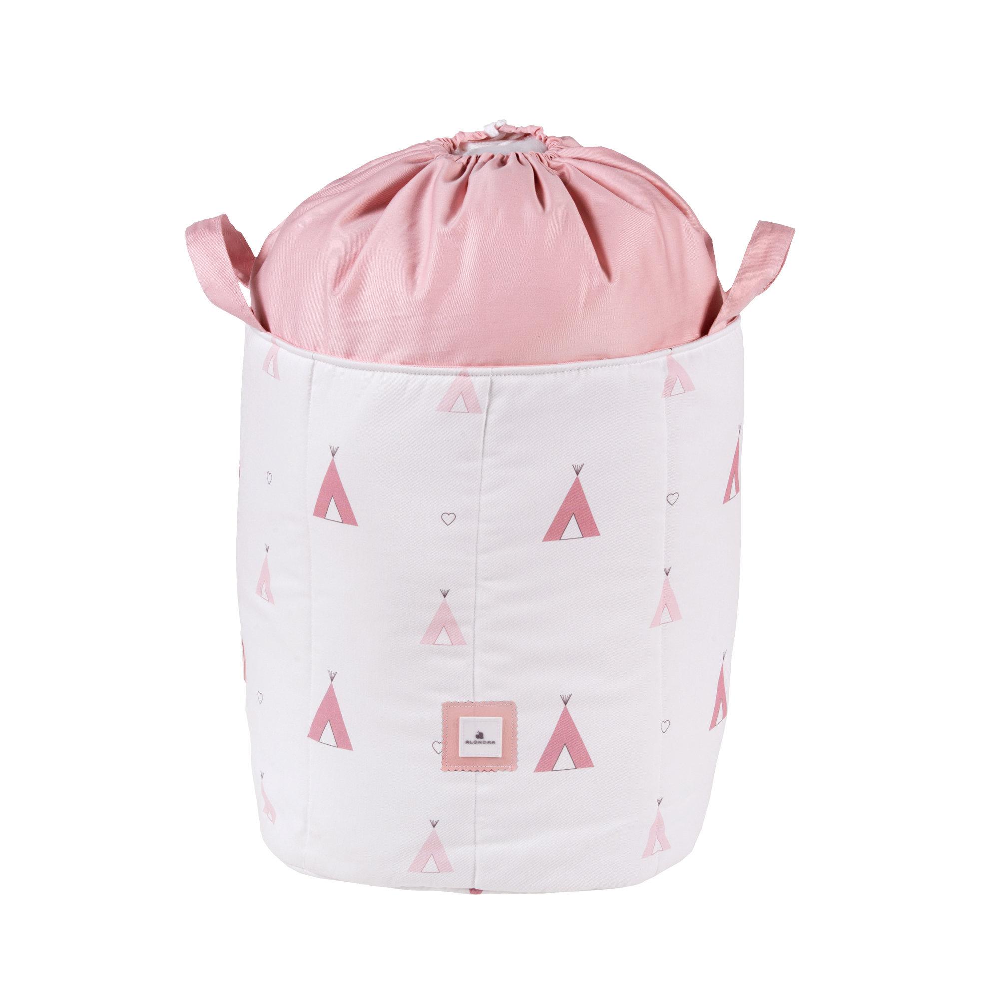 Saco infantil para guardar juguetes color rosa y estampado