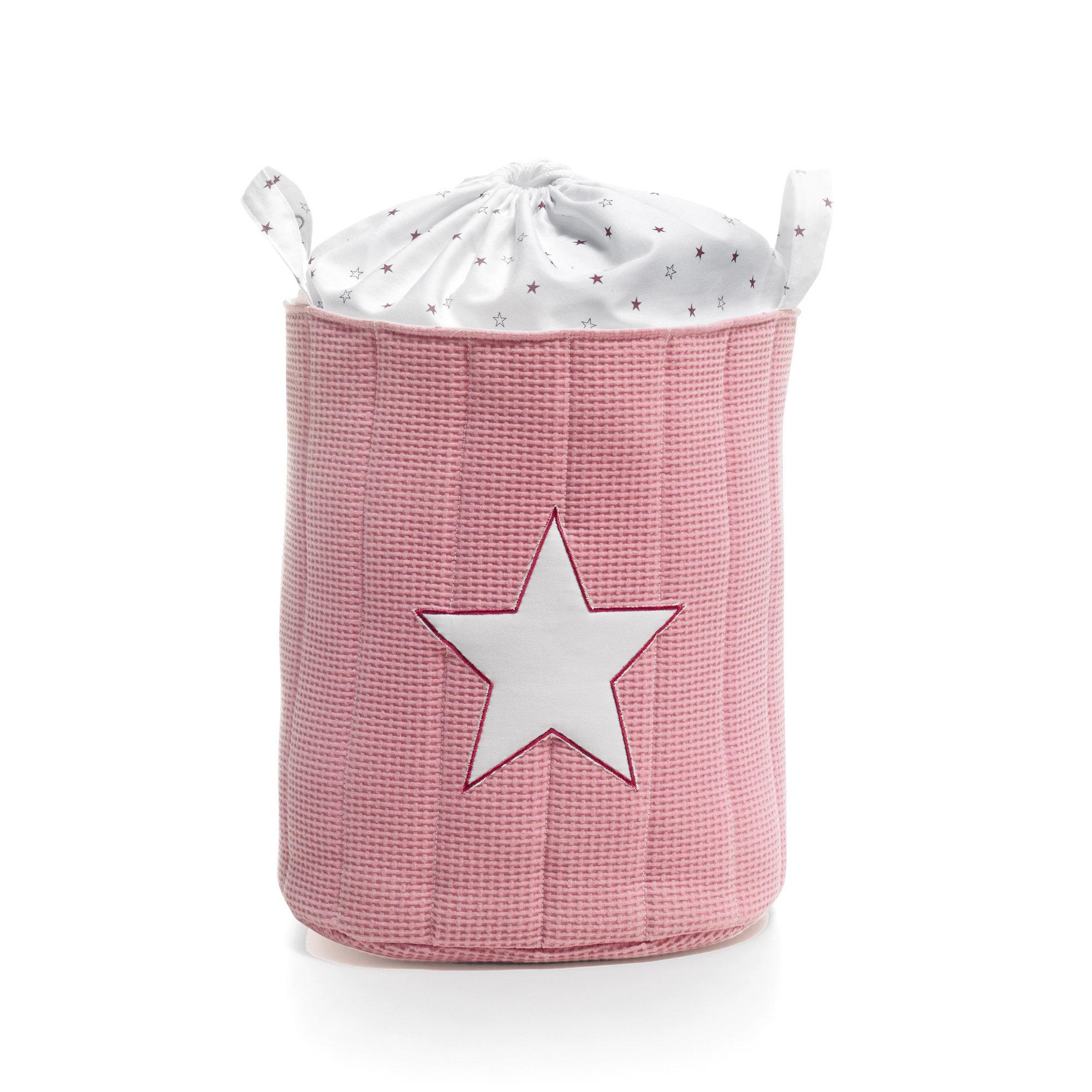 Saco infantil para guardar juguetes color rosad