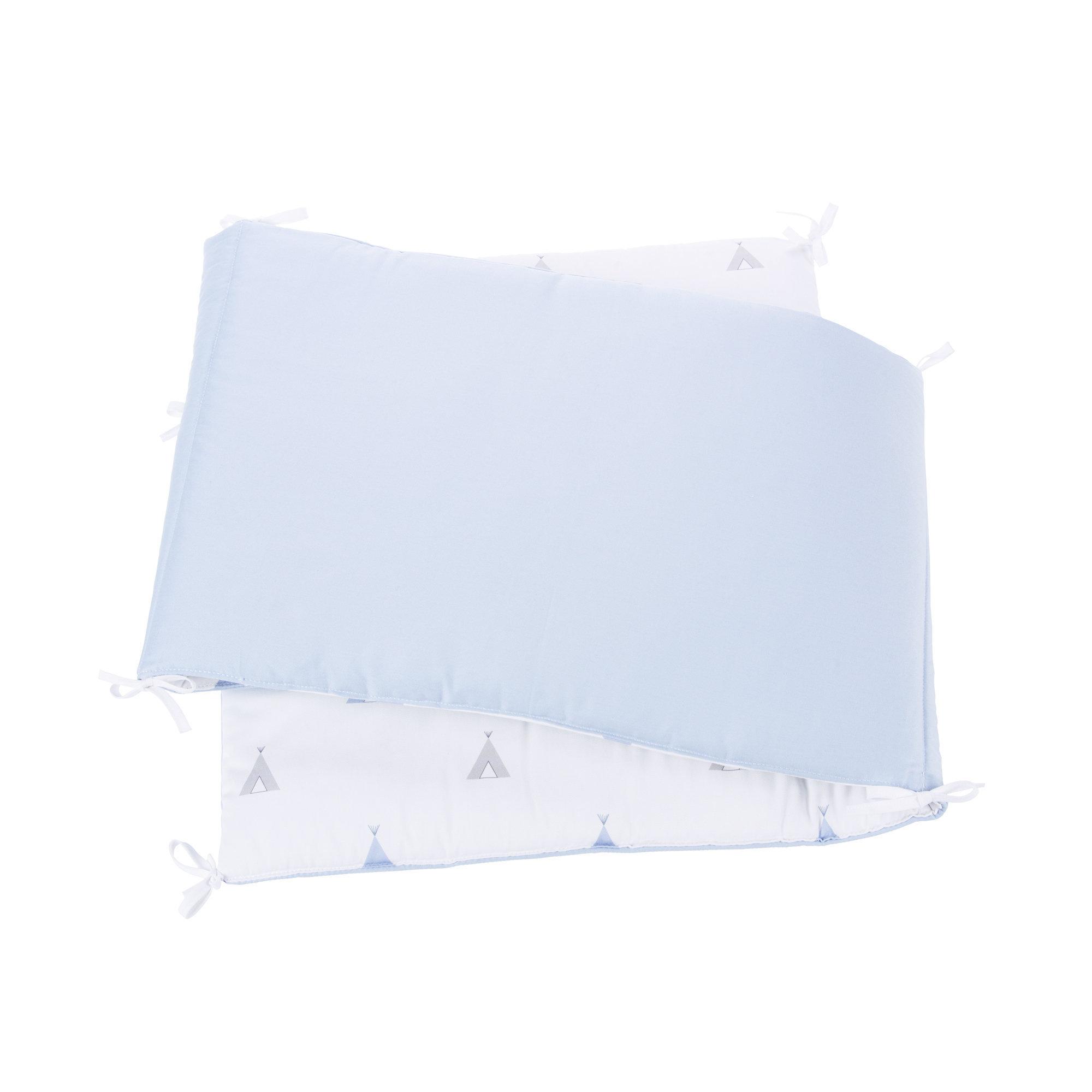Protector de cuna Indiana Blu 70x140cm reversible con cintas