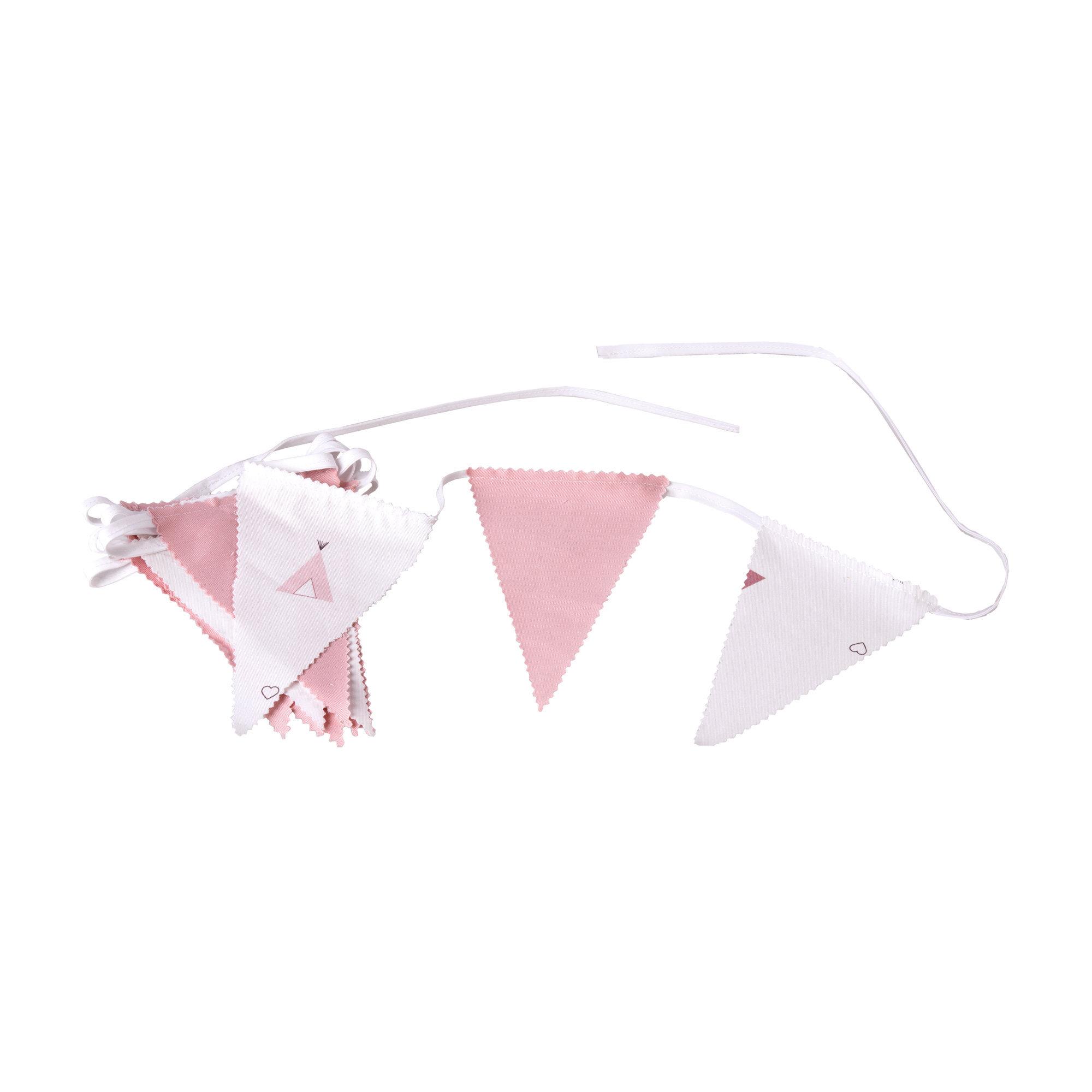 Guirnalda decorativa para habitación de bebé en color rosa y blanco