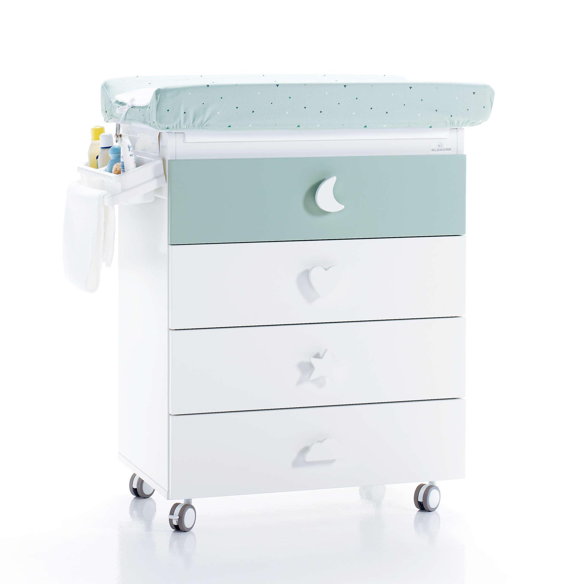 Mueble bañera cambiador para bebé con pomos de estrella