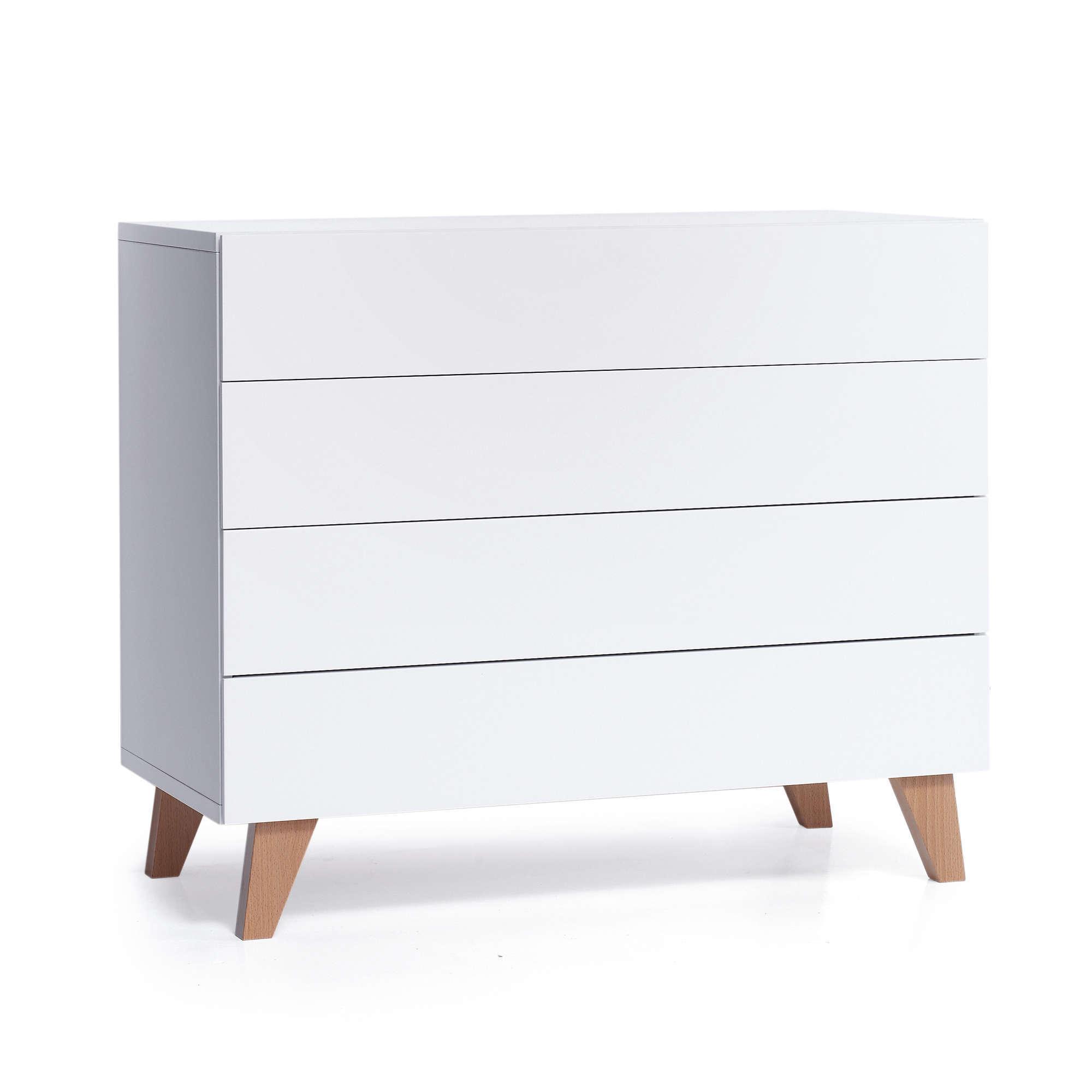 Cómoda para habitación de bebé en blanco y madera de estilo nórdico Alondra
