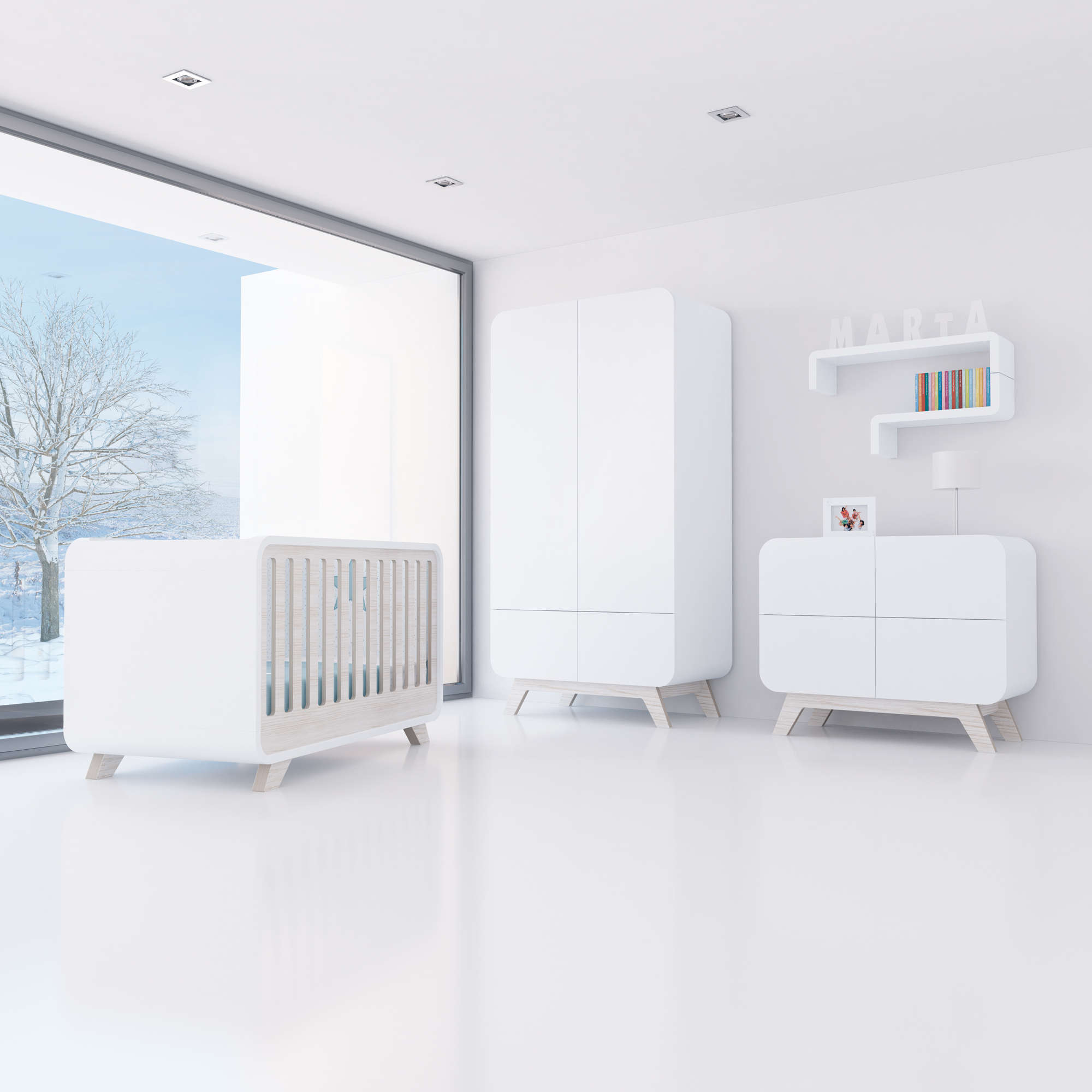 Habitación infantil de estilo nórdico con mobiliario de madera