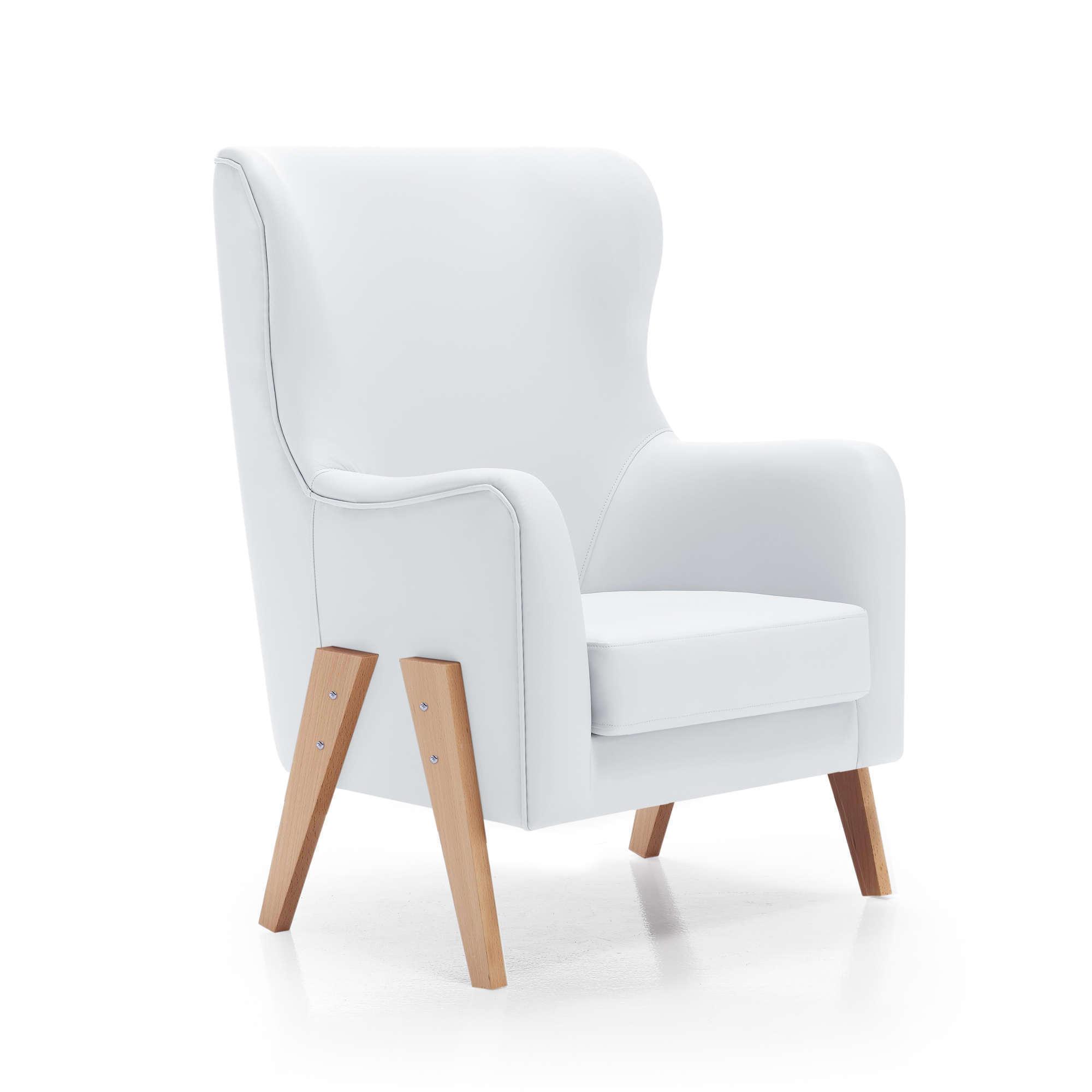 Sillón de lactancia Glam en polipiel blanca con patas de madera estilo nórdico Alondra