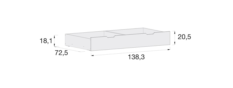 Medidas cajón inferior cuna Alondra