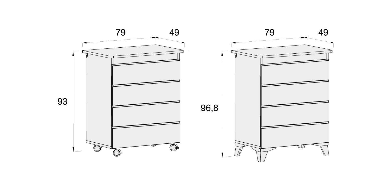 Medidas mueble bañera cambiador infantil Kubo B751