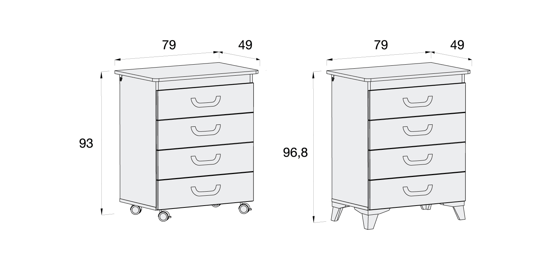 Medidas mueble bañera cambiador Joy B759