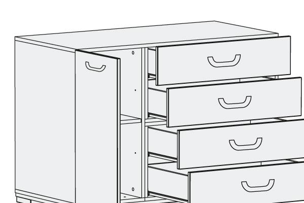 Cómoda cuatro cajones y estante regulable