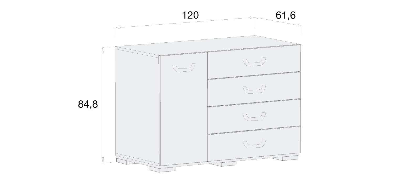 Medidas cómoda infantil Alondra D259