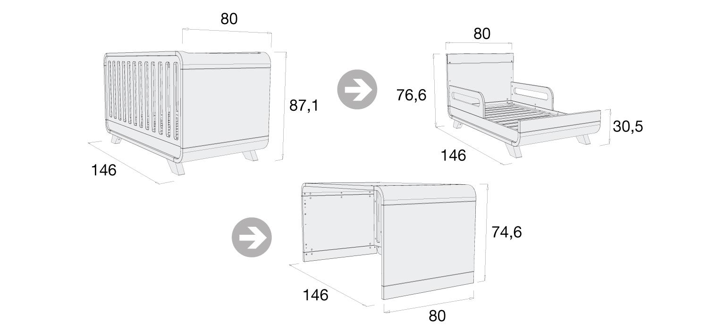Medidas cuna cama escritorio C137P Alondra