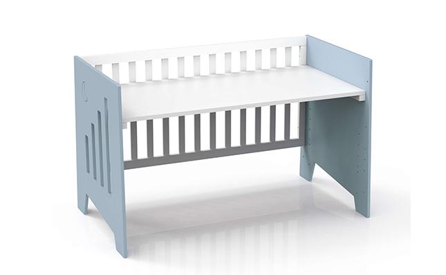 Cuna-escritorio 2en1 de tamaño 70x140cm en color beige