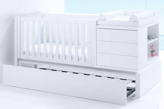 Cuna cama convertible 70x140 Premium Kurve izquierda K417 con cama nido inferior