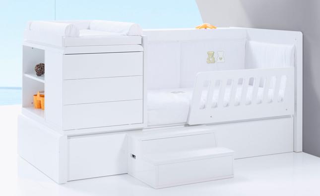 Cuna-cama Premium Kurve White derecha 70x140 convertible en cama junior