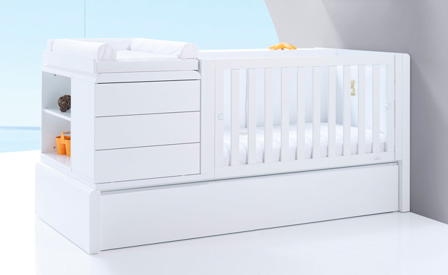 Cuna transformable cama Premium Kurve White derecha 70x140 cm