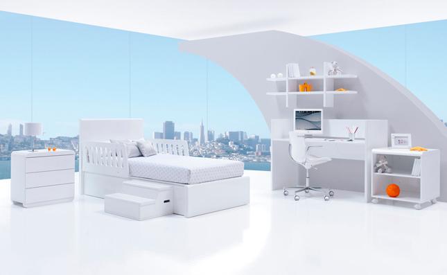 Cuna transformable Premium Kurve White derecha 70x140cm convertida en habitación juvenil