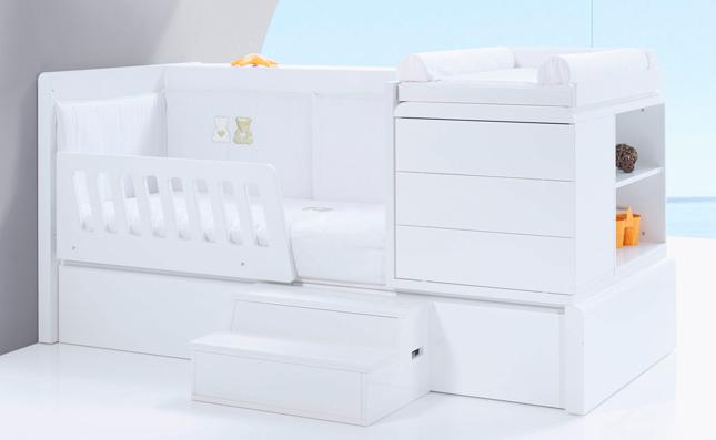 Cuna-cama Premium Kurve White izquierda 70x140 convertible en cama junior
