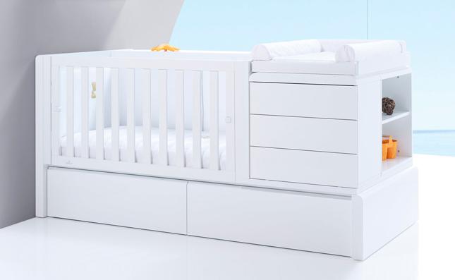 Cuna transformable cama Premium Kurve White izquierda 70x140 cm